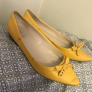 Cole Haan Alice Bow Skimmer Yellow Leather Flats